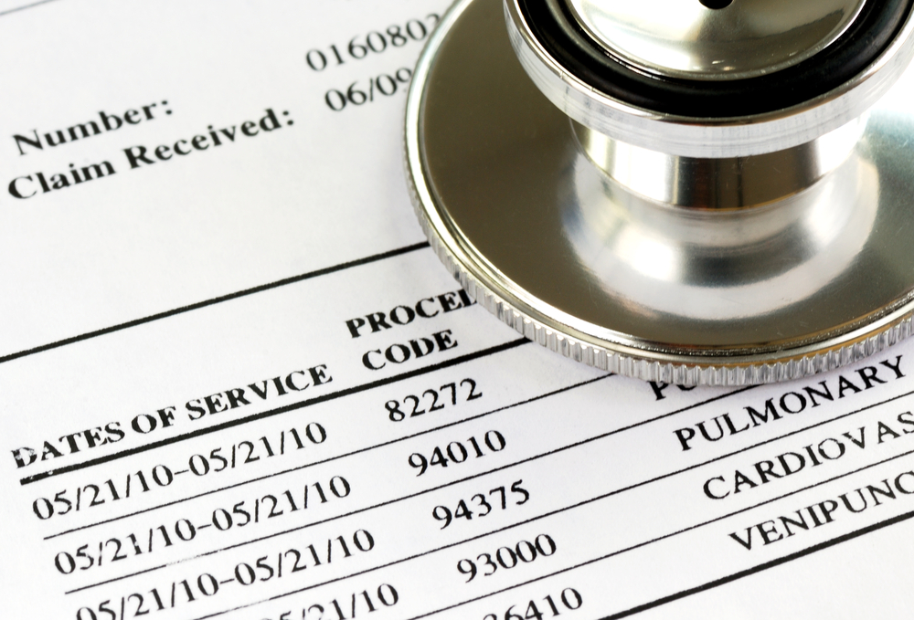 Medical bill sheet with stethoscope