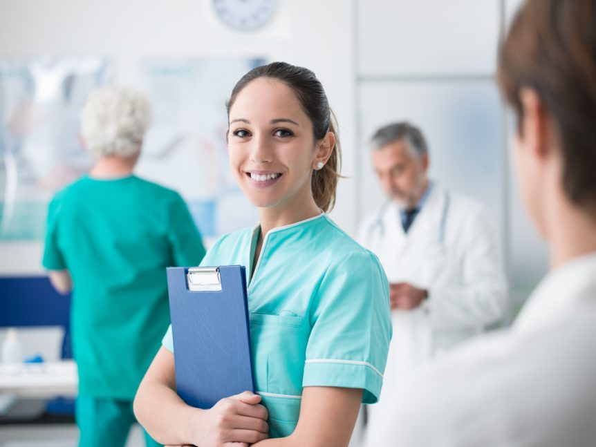 Smiling young woman at a doctor's office